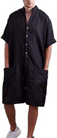 Men's Dungarees Cotton and Linen Jumpsuit Overalls Super Baggy Short Onesies Rompers with Pockets