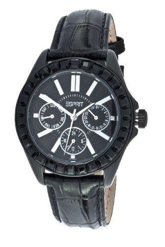 Esprit ES102392002 - Reloj analógico de cuarzo unisex con correa de piel, color negro