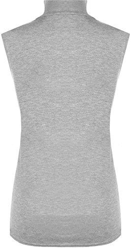 WearAll - Damen Übergröße Einfarbig Rollkragen Ärmellos Top - 4 Farben - Größe 44-50 Hellgrau