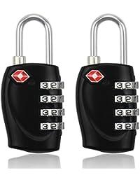 BlueBeach® (2 Cadenas) TSA Cadenas de sécurité à combinaison de 4 chiffres, pour valise et bagages, approuvé par la TSA voyage sécurisé
