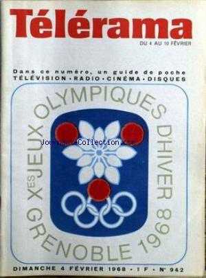 TELERAMA [No 942] du 04/02/1968 - LES JEUX OLYMPIQUES 1968.