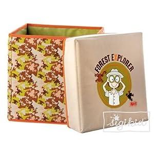 sigikid 49270 - Caja de juguetes con taburete (30 x 30 x 30 cm), diseño de explorador importado de Alemania