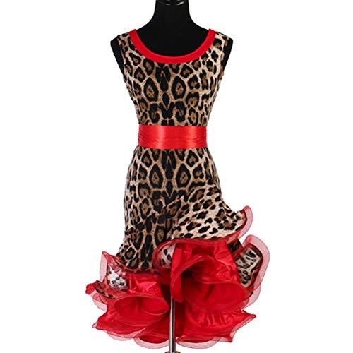 Klassischer Rundhalsausschnitt Leopard Latin Dance Kleid für Frauen Lotard Ärmellos Rumba Samba Cha Cha Tango Leistung/Praxis Kostüm Stretch Tanz Abnutzungs,Rot,XXL (Irish Dance Kostüm Für Erwachsene)