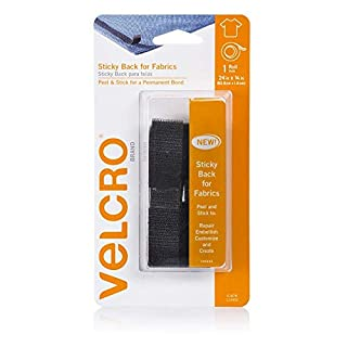 Velcro(r) Brand Fasteners Sticky Back for Fabrics: No sewing needed - 24-inch X 3/4-inch Tape - Black