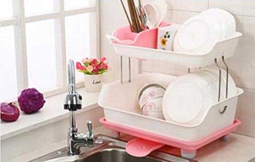 Pratique Gadgets Cuisine Dish double couche Racks Cuisine rayonnage table Support de rangement en plastique Bowl rack de cuisine bol avec des baguettes YYdy-Kitchen tools ( couleur : Rose )