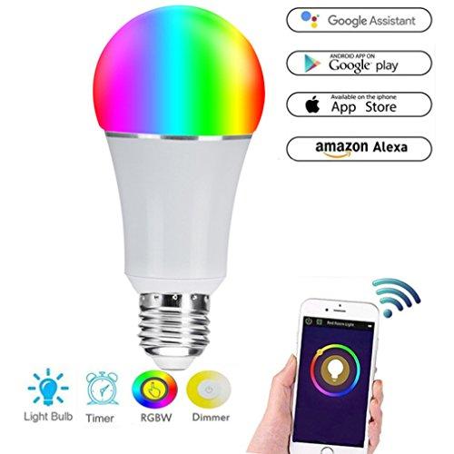 pubiao Wifi Glühbirnen LED Multicoloured 7W RGB Smart Bulb Fernbedienung und gesteuert von Amazon Alexa & Google Home