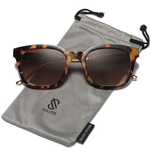 SOJOS Fashion Rechteckig Polarisierte Sonnenbrille Damen Herren in Mode SJ2050 mit Demi Rahmen/Braun Linse