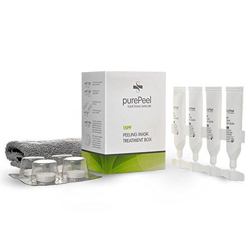 Fruchtsäure-peeling (purePeel natürliche Gesichtsmaske aus Vlies / AHA Fruchtsäure-Peeling Serum 15pf, 30 ml - Tuchmasken 4er-Set bei fettiger Haut und Unreinheiten für alle Hauttypen geeignet)