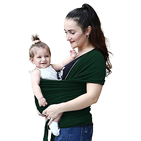 • MOTHERS DAY SALE! • GREAT FOR PLUS SIZE PARENTS • CLASSY GREEN Comfortable Baby Sling Carrier For Newborns, Infants, Toddlers Best Baby Carrier and Breastfeeding Cover with Breathable Soft Cotton Ideal for Baby Shower Gift
