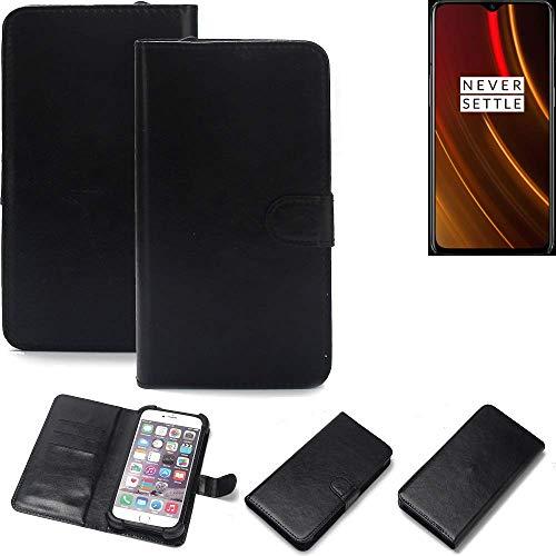 K-S-Trade Wallet Case Handyhülle für OnePlus 6T McLaren Edition Schutz Hülle Smartphone Flip Cover Flipstyle Tasche Schutzhülle Flipcover Slim Bumper schwarz, 1x