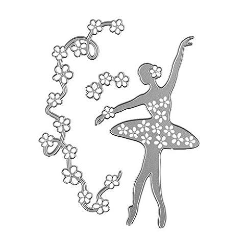 Enipate danseuse de ballet Girl Guirlande de fleurs en métal Die de coupe matrices pour DIY Scrapbooking Album photo décoratif gaufrage