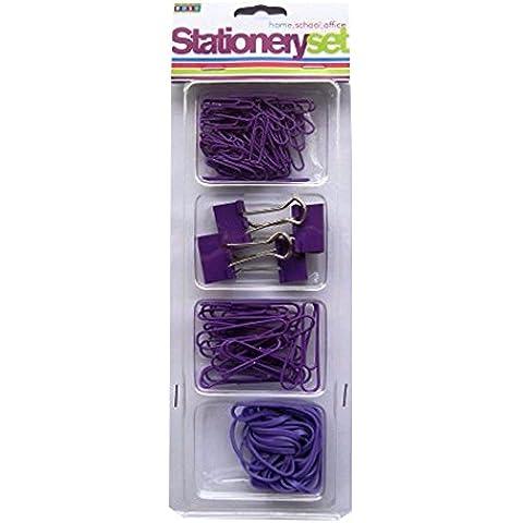 Stationery-Set di accessori, colore: viola-large Small &-Clip per fogli di carta, motivo: Bulldog con clip, elastici, Prodotto da