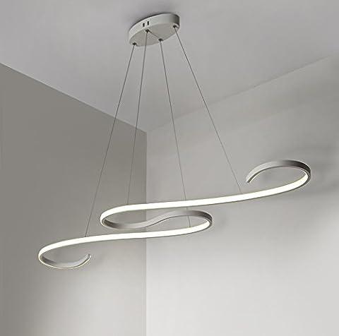 LED Pendelleuchte Dimmbar Hängeleuchte Stufenlos Deckenleuchte Designlampe Höhenverstellbar Leuchte für Büro Esszimmer Wohnzimmer Kurve Design mit Fernbedienung