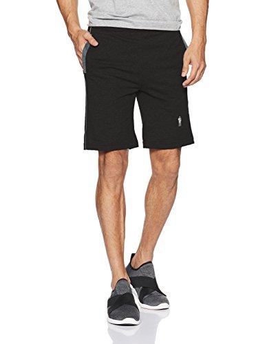 Jockey Men's Cotton Lounge Shorts (9427_Black Charcoal Melange_Large)