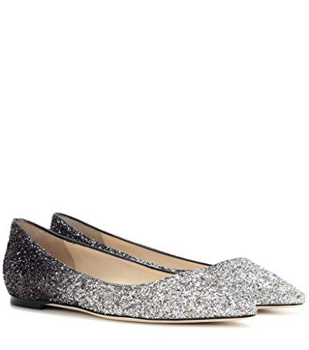 ELASHE - Femmes - Ballerines - Bout Pointu Chaussures - Classiques Ballerines - Talon plat - Bout pointu fermé Argenté-Pente