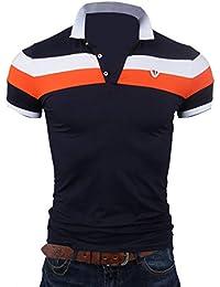 Beiläufig Lässige Farbe Block Kurzarm Slim Fit Umlegekragen Polo-Shirt 4b9681402e