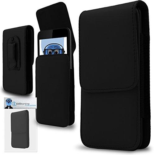 iTALKonline Schwarz Premium PU-Leder Vertikale Exekutive Seitentasche Kofferabdeckung Holster mit Gürtelschlaufe Clip und Magnetverschluss für Motorola MB855 Photon 4G