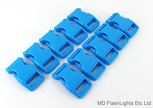 10 x 15 mm 5/20,3 cm Acide Bleu profilée incurvée Quick Release Paracord Bracelet de survie Boucles