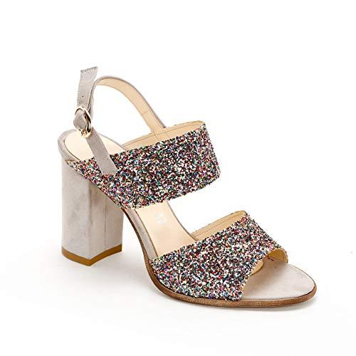 Elsa Ducci by Scarpe&Scarpe - Sandali Alti con Fasce in Glitter, con Tacco 9 cm - 35,0, Multicolor