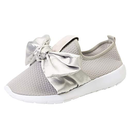 MRULIC Damen Outdoor Sportschuhe Mesh Bow Casual Schuhe Laufen Atmungsaktive Schuhe Turnschuhe Low-Top Sneakers Leichte Schuhe(Grau,EU-40/CN-41)