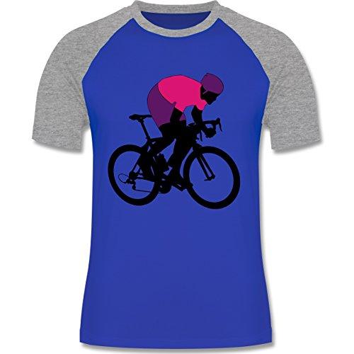 Radsport - Profi Rennradfahrer Rennrad - zweifarbiges Baseballshirt für Männer Royalblau/Grau meliert