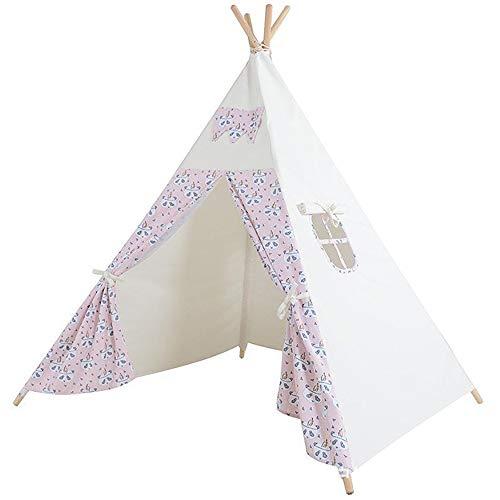 ADATEN Kinder Indianer Tipi Leinwand Falten Tragbar Drucken Zelt Kinder Wigwam Möbel Mit Fenster Boden Spielhaus Spielzeug Verwendung für for Junge und and Gril,Pink (Junge Gril)