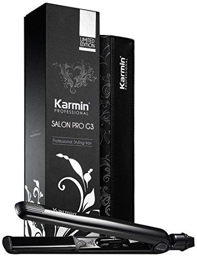 """Karmin G3 Salon Pro - Plancha de pelo/cabello profesional de cerámica y turmalina 1"""" color negro para hacer ondas, alisar, rizar - con funda termica, para peluqueria y voltaje dual ideal para viajar"""