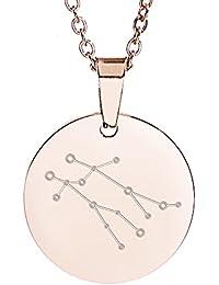 Gravado Damen Kette mit rundem Kreis-Anhänger aus Edelstahl – Roségold –  Sternzeichen Zwilling – 480507a7c1