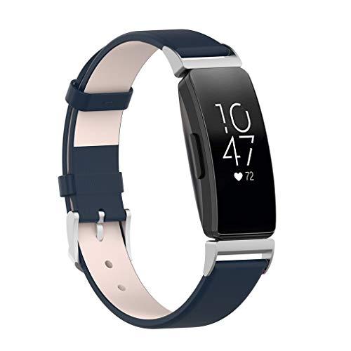 Dkings Metallarmband kompatibel mit Fitbit Inspire & Fitt Inspire HR, Leder-Lederband Milano Ersatz-Magnetarmbandzubehör klein für Damen Herren, schwarz, blau, Sangria, rot, Champagner, weiß (Blue)