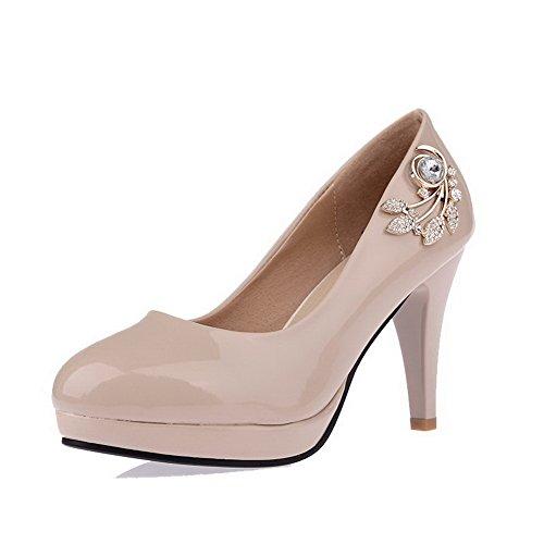 AgooLar Femme à Talon Haut Verni Mosaïque Tire Rond Chaussures Légeres Abricot