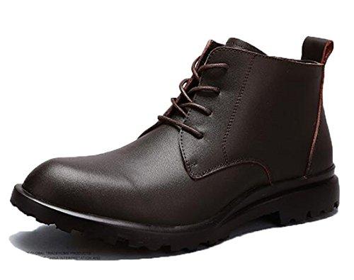 Honeystore Unisex Damen Herren Martin Stiefel Worker Flache Boots Klassischer Stiefeletten Schnüren Freizeitschuhe Braun 44CN (Herren Schuhe Stiefel Gucci)