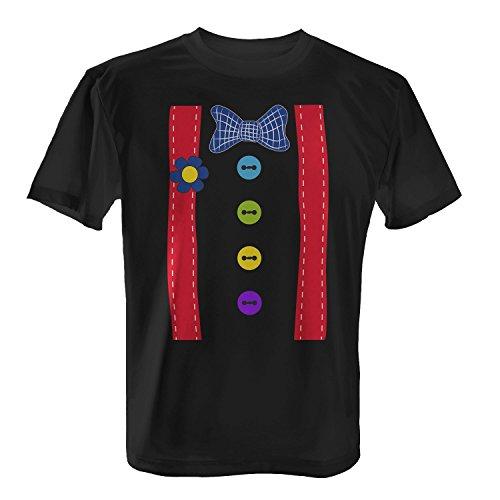 en T-Shirt von Fashionalarm | Spaß & Fun Shirt | Mit Hosenträgern & Fliege | Verkleidung Fasching Karneval Trick Or Treat Süßes Saures Horror Oktober Halloween, Farbe:schwarz;Größe:5XL (Süßes Clown-kostüm)