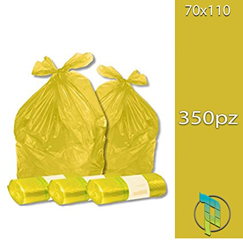 Palucart Sacchi spazzatura colore GIALLO cm 70x110 (110 litri) 350 pezzi