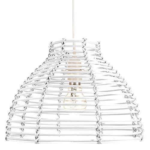 Traditioneller Korbstil Weißes Rattan Weidengeflecht Decke Pendeldecke Hängende Beleuchtung Schirm von Happy Homewares - Glas-schirm-decken-beleuchtung