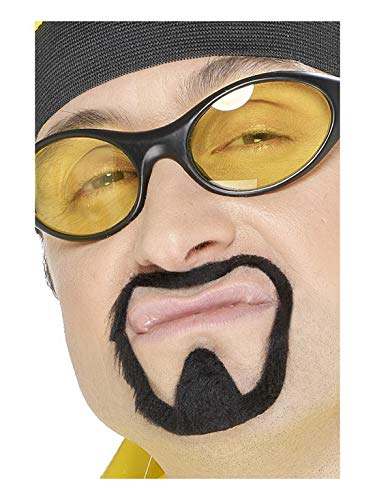 Rapper Kostüm Zubehör - Luxuspiraten - Kostüm Accessoires Zubehör Herren Herb Warrior Schnur- und Kinnbart-Set Moustache im Hip Hop Rapper Stil, perfekt für Karneval, Fasching und Fastnacht, Schwarz