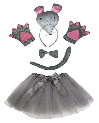 aus Kostüm Haarband Handschuhe grau Tutu 5-teiliges Set für Lady Gr. One Size, grau (Graue Maus Kostüm Frauen)