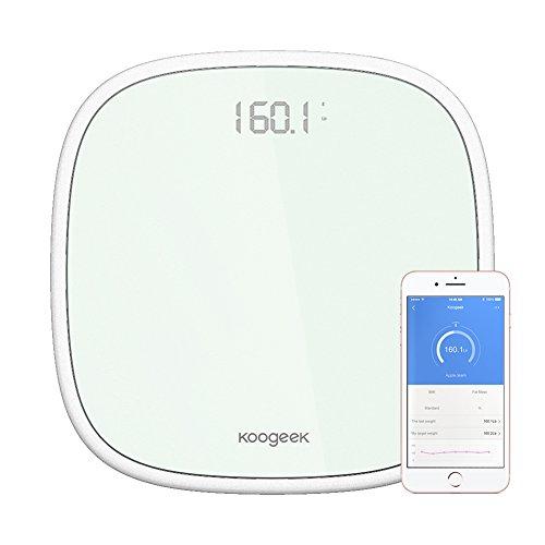 Koogeek-Bilancia-Pesapersone-Elettronica-200kg440lb-Bluetooth-40-Funzione-Con-App-Peso-Monitoraggio-di-Riconoscimento-Fino-a-16-Utenti-Display-a-LED-Apple-Android-Compatibile