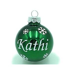 Weihnachtskugel mit Name aus Glas 6cm Wunschtext Grün Glänzend