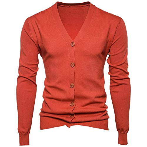 Autumn Men Sweater Casual Button V-Neck Sweaters Long Sleeve Cotton Knit Cardigan Slim Fit Pull Homme Multicolor 7 L -