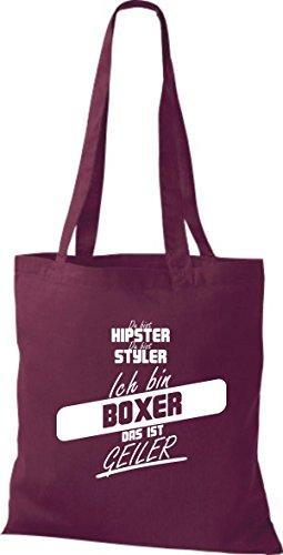 geiler weinrot Stoffbeutel ich Shirtstown ist das bist du bist Boxer bin du hipster styler 7O41Ogq