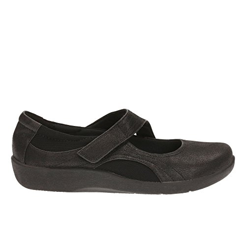 Clarks Women's Cloud Steppers Velcro Mary Janes Shoes Sillian Bella Black