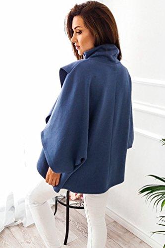 Sentao Donne Moda Felpa Collo Alto Maglione Occasionale Dal Cappotto Pullover Maglietta con Maniche a 3/4 Blu