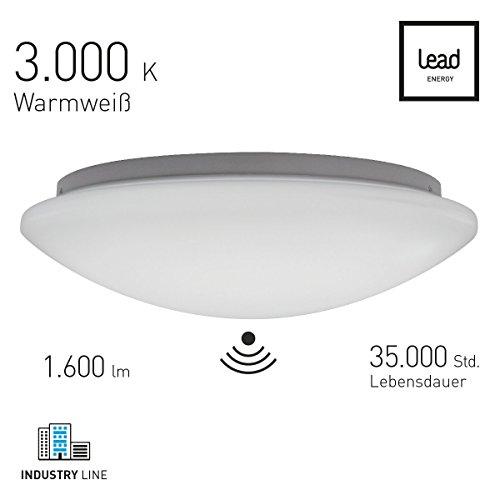 LEAD energy | LED Sensor Deckenleuchte Ø 40 rund warmweiß | LED Wandleuchte mit Bewegungsmelder|3000 Kelvin| IP20 | 21 Watt