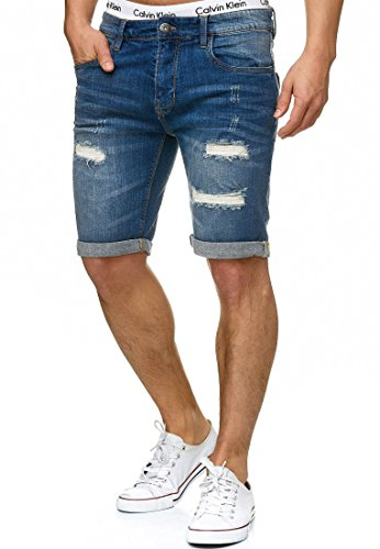 Indicode Herren Caden Jeans Shorts Kurze Denim Hose mit Destroyed-Optik aus  Stretch-Material 32915642ba