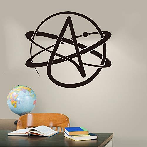 hetingyue Atheist Symbol Atomic Science Lab Klassenzimmer Wandtattoo Vinyl Wandaufkleber 60x54cm