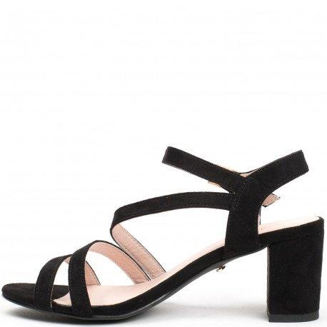 Ideal Shoes - Sandales à talon carré effet daim Heva Noir