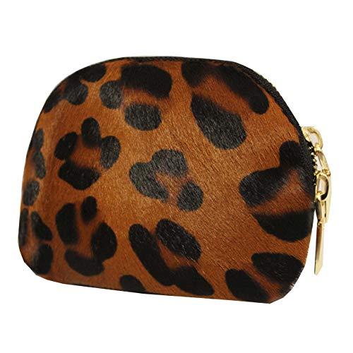 FERETI Cognac Monedero Moneda Carteras Leopardo Pantera Cuero Mujer
