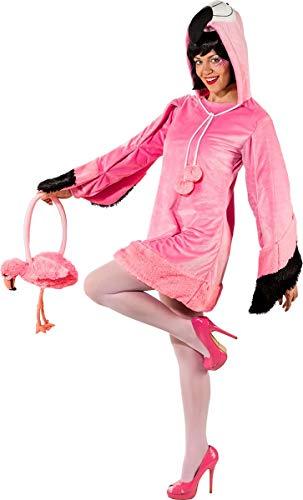 Krause & Sohn Damen Kostüm Flamingo Rosalie mit Handtasche Kleid rosa Tier Vogel Fasching Karneval - Rosalie Kostüm