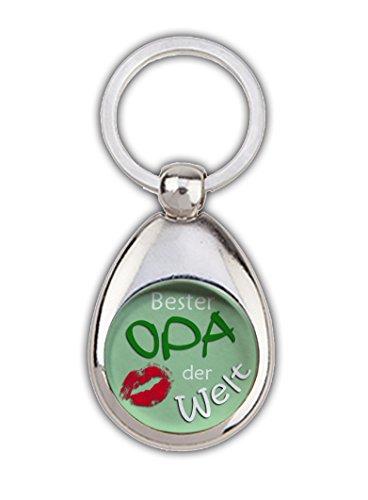 Schlüsselanhänger Bester Opa der Welt grün, mit Einkaufswagenchip in Magnethalterung