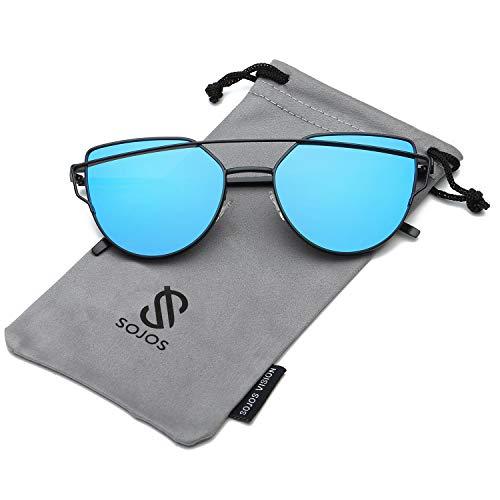 SOJOS Katzenauge Metall Rand Rahmen Damen Frau Mode Sonnenbrille Verspiegelt Linse Women Sunglasses SJ1001 mit Schwarz Rahmen/Blau Linse
